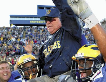 Delaware coach Tubby Raymond is hoisted onto the shoulders of his players in November 2001 after becoming the ninth college football coach to reach 300 wins. Raymond, who died Dec. 8 at age 92., was celebrated during a memorial Friday at UD. (AP Photo)