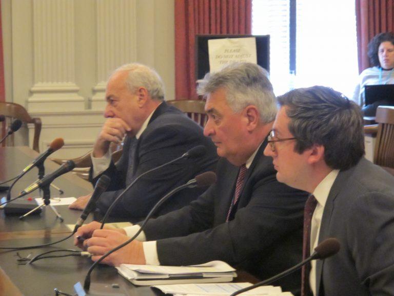 New Jersey Transit officials testify at a legislative hearing in Trenton.