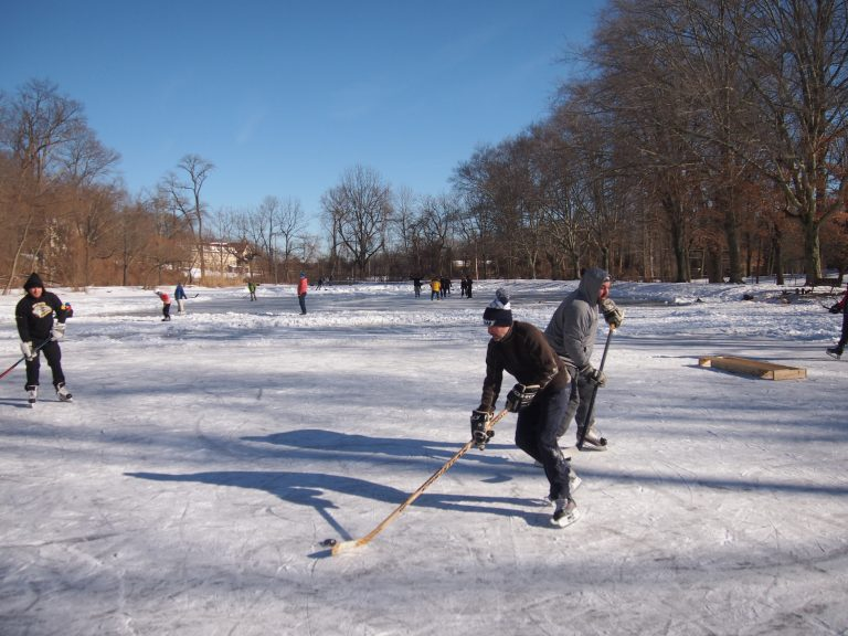 Ice skaters take advantage of a rare frozen pond to play some hockey  at Fenimore Woods in Radnor Township, Delaware County. (Shai Ben-Yaacov/WHYY)
