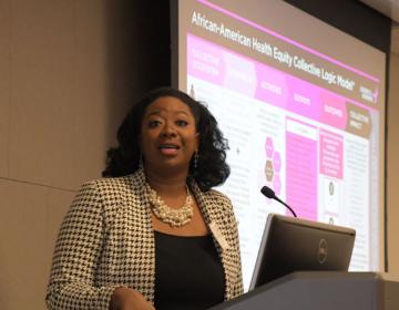 Shyrea Thompson, senior director of strategic initiatives, Susan G. Komen speaks during the African American Breast Health Equity Initiative Philadelphia Leadership Forum (Abdul R. Sulayman/The Philadelphia Tribune)