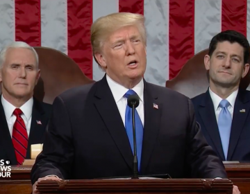 President Donald Trump delivering his first State of the Union address, January 30, 2018.