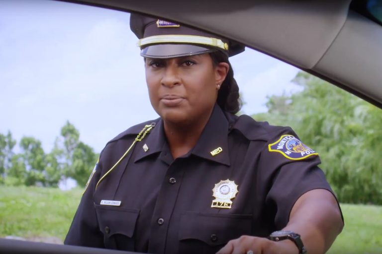 Montclair Police Detective Kim Nelson Edwards is featured in an ad aimed at easing tensions during traffic stops.