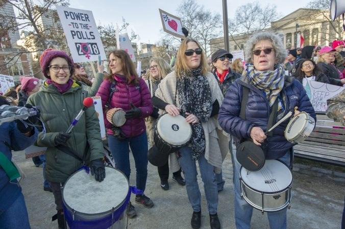 Member of the Drum Like a Lady group entertain marchers at Logan Circle. (Jonathan Wilson for WHYY)