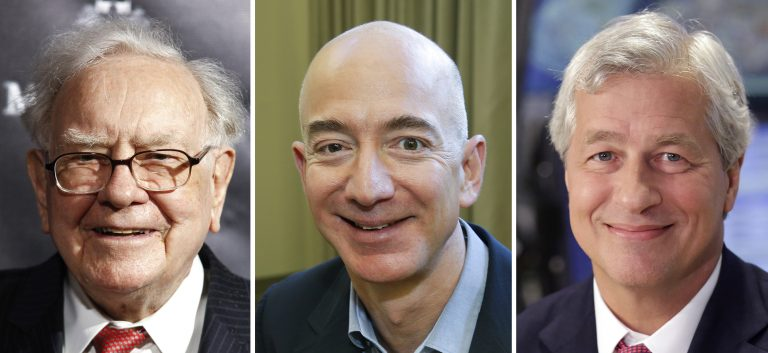 Berkshire Hathaway Chairman and CEO Warren Buffett (left) in 2017; Jeff Bezos, CEO of Amazon, in 2013; and JP Morgan Chase Chairman and CEO Jamie Dimon in 2013. Berkshire Hathaway, Amazon and JPMorgan Chase are teaming up to create a health care company announced Tuesday that is