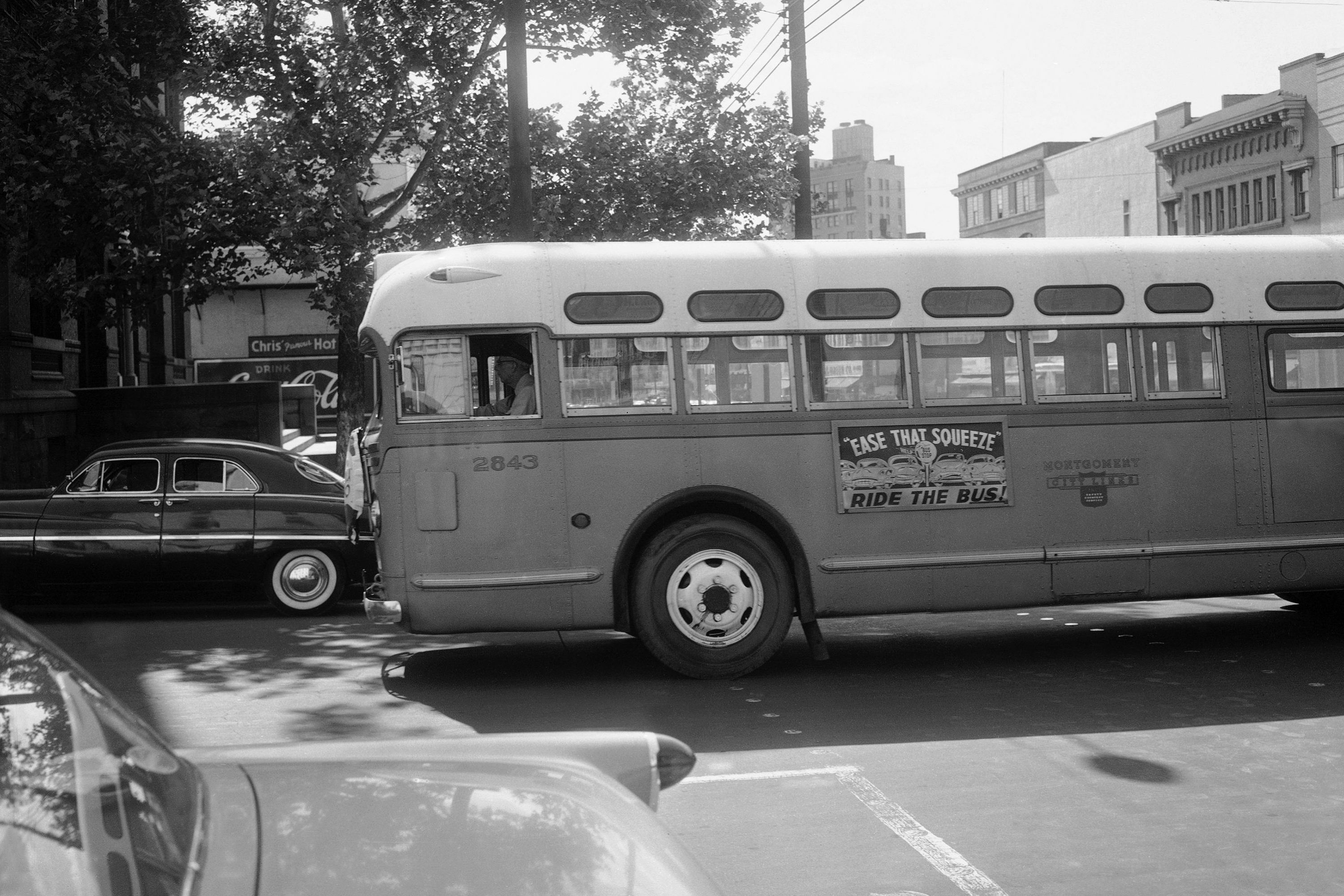 Abus driver is all alone as his empty bus moves through downtown Montgomery, Ala., in April 1956 during the boycott. Georgia Gilmore's cooking helped fund an alternative system of transportation that arose for the city's African-Americans during the boycott