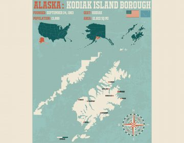 Large and detailed infographic of the Kodiac Island Borough in Alaska