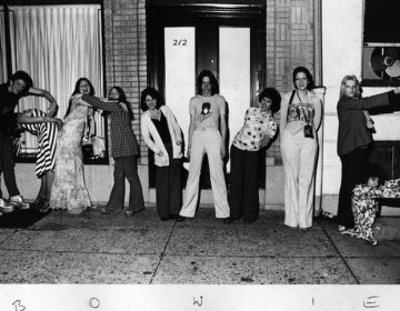 Fans spell out BOWIE with their bodies outside Sigma Sound Studios on 12th Street in 1974 while David Bowie was recording songs for the album