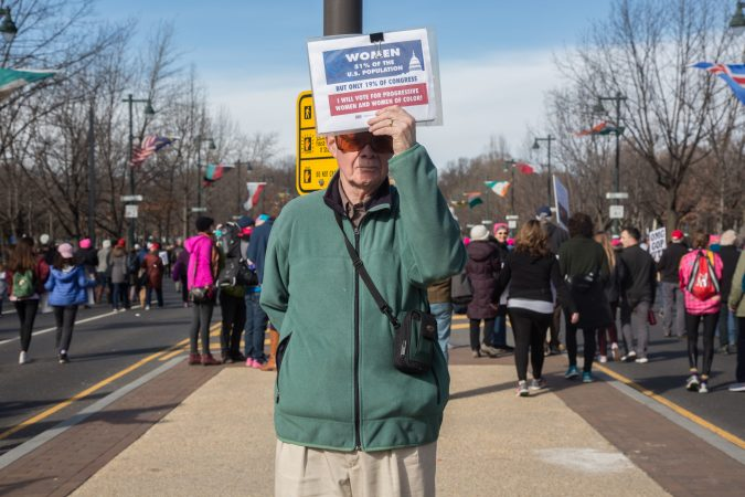 Nick Sanders came out to support his fellow Philadelphians at the 2018 Womens March on Philadelphia, January 20, 2018. (Emily Cohen for WHYY)