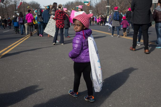 Lotte Snyder, 3, shows off her cape at the 2018 Women's March on Philadelphia