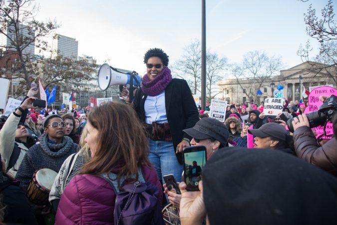 LaTreice Branson from Drum Like A Lady rallies up the crowd to begin the 2018 Womens March on Philadelphia, January 20, 2018. (Emily Cohen for WHYY)
