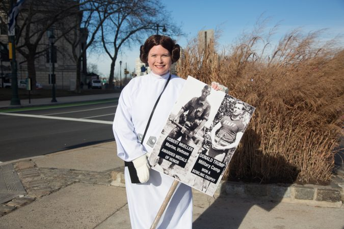Marie can from Glenmore, Pa. for the 2018 Women's March on Philadelphia, January 20, 2018. (Emily Cohen for WHYY)