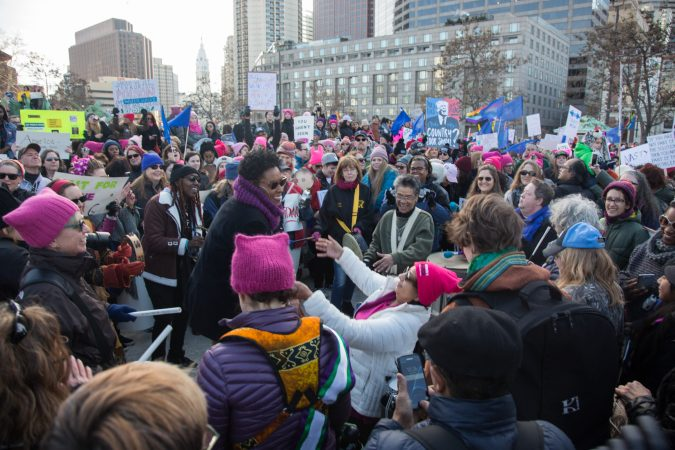 Drum Like A Lady kicks off the 2018 Womens March on Philadelphia, January 20, 2018. (Emily Cohen for WHYY)