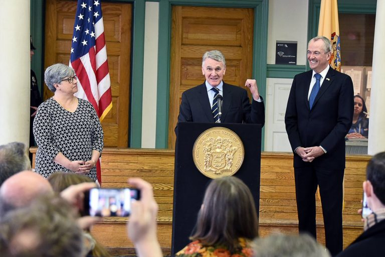 Kevin Corbett (center) is the choice of New Jersey Gov. Phil Murphy (right) to lead New Jersey Transit. (Governor's office photo)