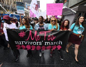 Women who are survivors of sexual harassment, sexual assault, sexual abuse and their supporters protest during a #MeToo march in Hollywood, Calif., on Nov. 12, 2017. Moira Donegan revealed herself as the creator of an anonymously sourced list of men who work in media accused of sexual misconduct. (Mark Ralston/AFP/Getty Images)