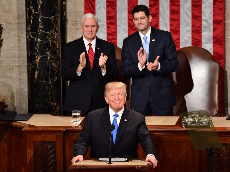 President Trump listens to applause beforedelivering his State of the Union address Tuesday night at the Capitol in Washington