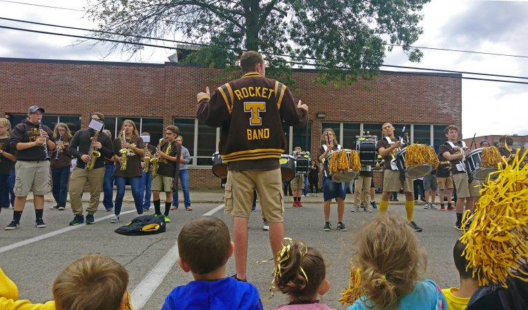 The Titusville High School marching band plays during a parade outside the school (Kevin McCorry/Keystone Crossroads)
