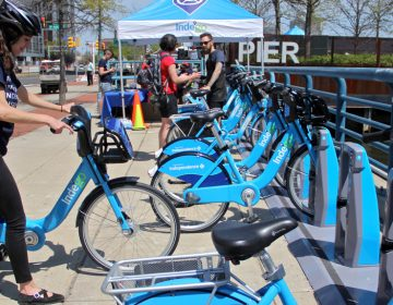 An Indego bike dock at Race Street Pier