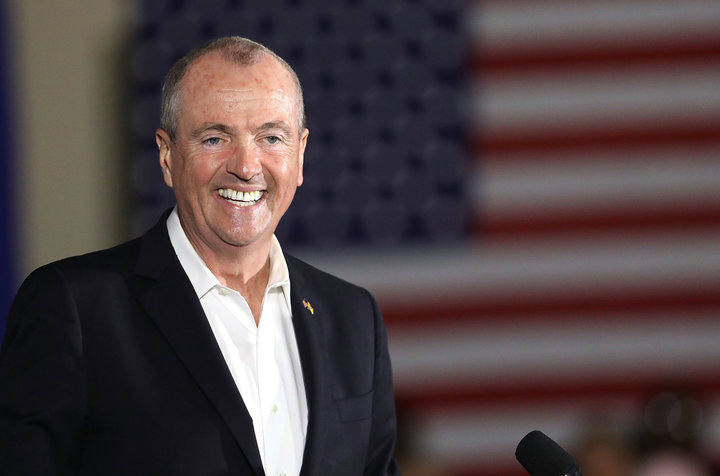 NEWARK, NJ - OCTOBER 19:  Democratic candidate Phil Murphy, who is running against Republican Lt. Gov. Kim Guadagno for the governor of New Jersey , speaks at a rally on October 19, 2017 in Newark, New Jersey. Murphy was later joined by former President Barack Obama This is Obama's first return to the campaign trail to stump for Democratic gubernatorial candidates in New Jersey and Virginia as they prepare for next month's elections.  (Photo by Spencer Platt/Getty Images)
