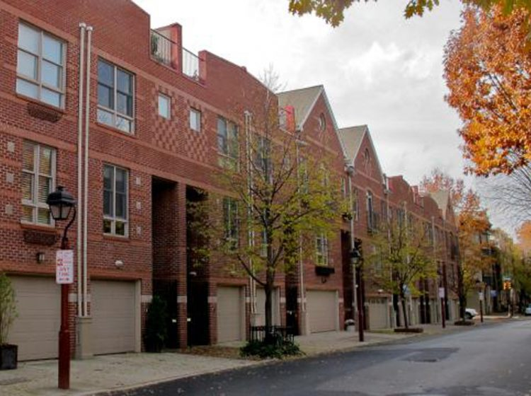 These garages on Lombard Street provide residential parking. (PlanPhilly)