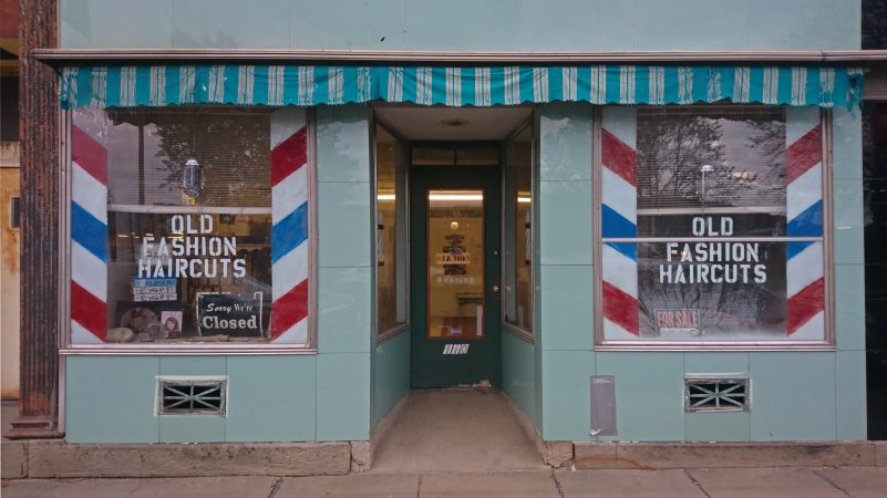 A barber shop in downtown Titusville (Kevin McCorry/WHYY)