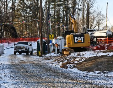 Mariner East 2 construction site on Shepherd Road in Edgemont Township, Delaware County. (Kimberly Paynter/WHYY)
