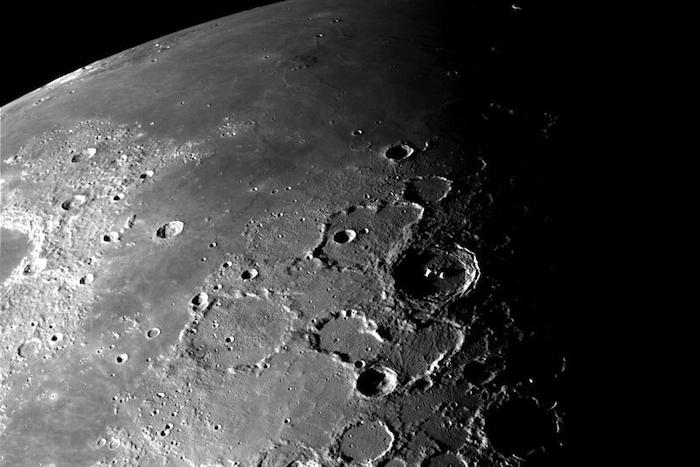 This view of the north polar region of the Moon was obtained by NASA's Galileo's camera during the spacecraft's flyby of the Earth-Moon system on December 7 and 8, 1992.