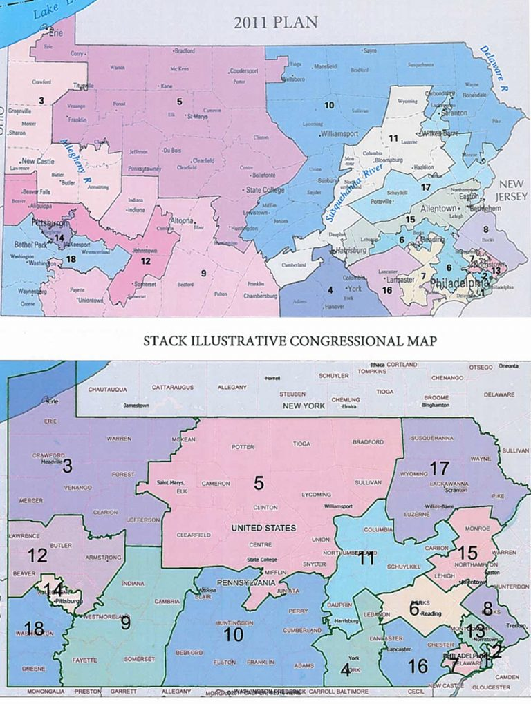 Lieutenant Governor Mike Stack wants the state Supreme Court to replace Pennsylvania's Congressional map (top) with one created by an expert witness (bottom) for plaintiffs in a lawsuit claiming the current map is an unconstitutional partisan gerrymander. (Graphic designed by Lindsay Lazarski/Keystone Crossroads. Images from the Office of Lt. Gov. Mike Stack)