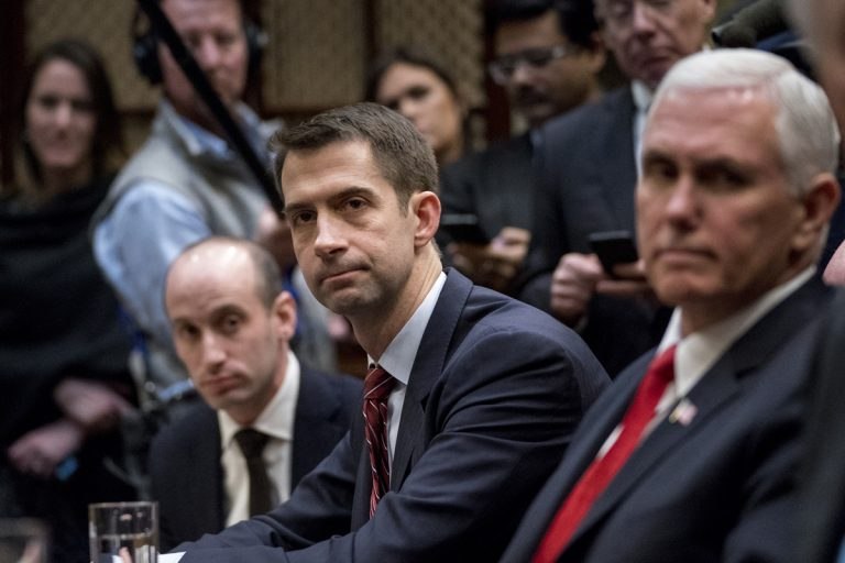 White House Senior Adviser Stephen Miller, Sen. Tom Cotton, R-Ark., and Vice President Mike Pence attend a meeting with President Donald Trump on immigration.