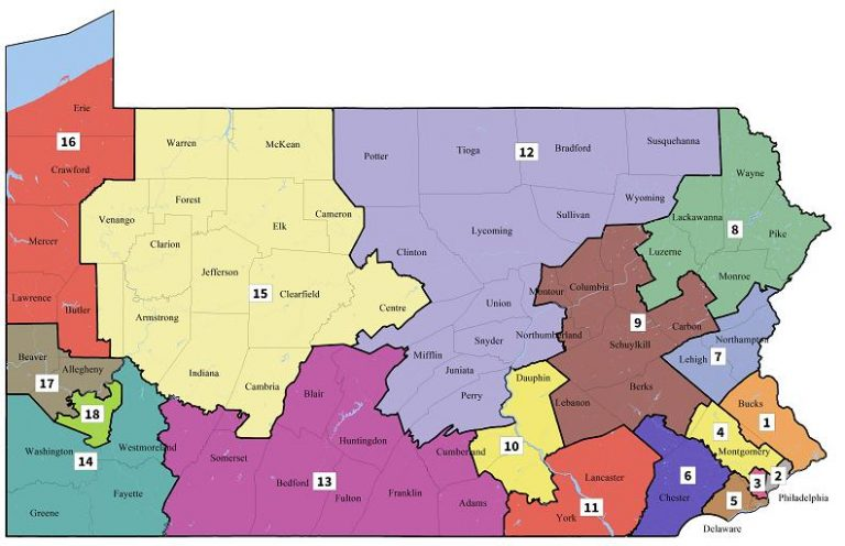 Pennsylvania's new ongressional map as drawn by the Pa. Supreme Court after it found the previous version an unconstitutional partisan gerrymander.