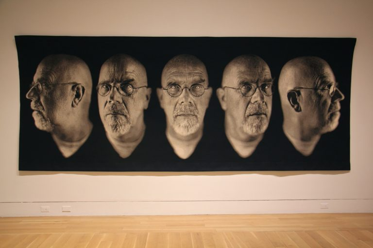 The Pennsylvania Academy of Fine Arts is using its exhibition of the photographs of Chuck Close to start conversations about sexual misconduct in the art world. Close, shown here in ''Self-Portrait/Five Part'' has been acused of treating female models in a sexually degrading way.
