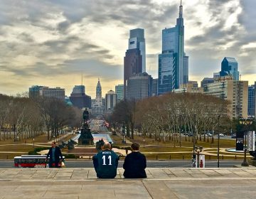 An Eagles fan takes in the city from the top of the steps to the Philadelphia Museum of Art, also known as the Rocky steps. (Emma Lee/WHYY)