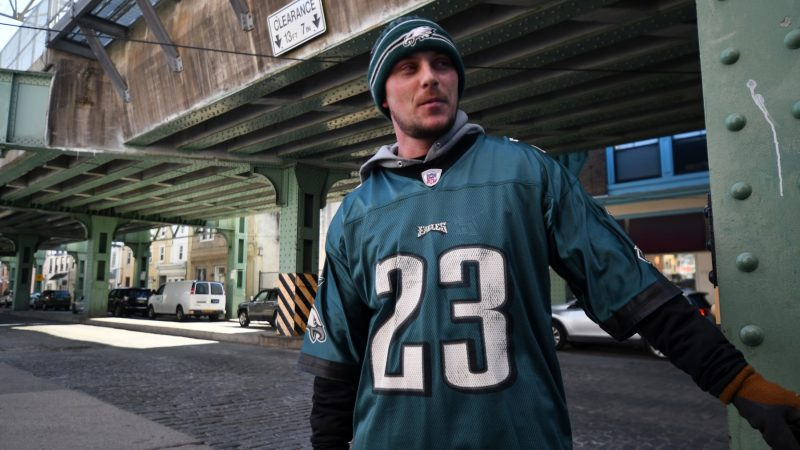 In Manayunk, on Wednesday Mark McCay says he believes the Philadelphia Eagles will win on Sunday. (Bastiaan Slabbers for WHYY)