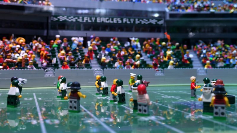 All seats of this miniature Lincoln Financial Field are packed for the Patriots and Eagles Super Bowl game, at the Lego Discovery Center, in Plymouth Meeting. (Bastiaan Slabbers for WHYY)