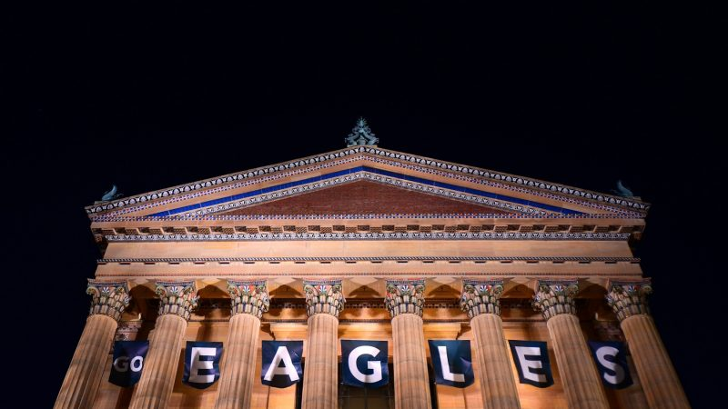 Banners at the Philadelphia Museum of Art read GO EAGLES, on Wednesday. (Bastiaan Slabbers for WHYY)