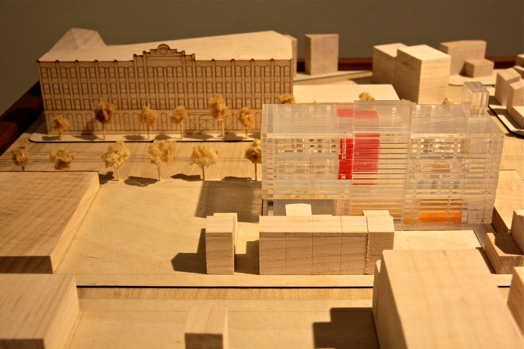 A scale model shows the location of the new Clay Studio (in clear plastic) on North American Street across the street from the Crane Arts building.