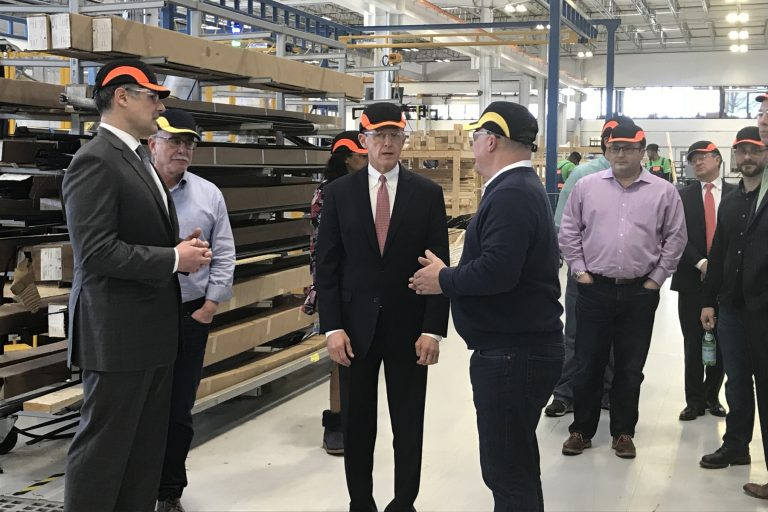 Sen. Pat Toomey (center) tours New Hudson Facades in Linwood, Pennsylvania, promoting the Tax Cuts and Jobs Act.
