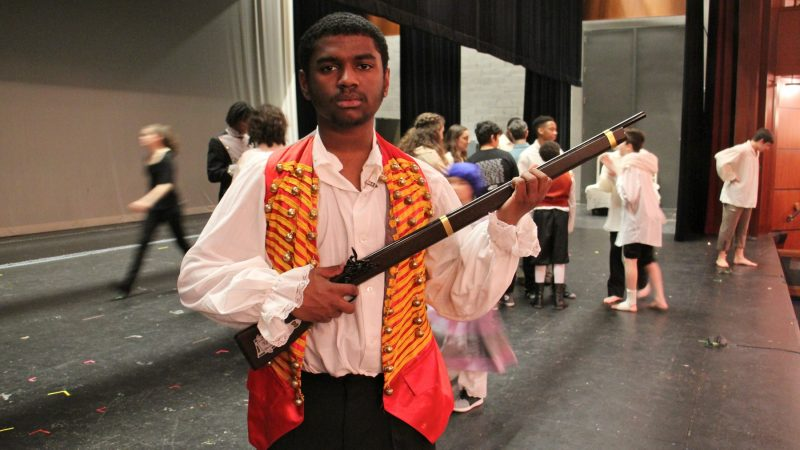 Jaleel Bivins portrays Erjolras, the revolutionary who leads students to their deaths in the revolt. (Emma Lee/WHYY)