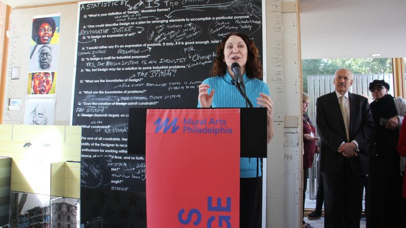 Jane Golden, founder and executive director of Mural Arts Philadelphia, introduces the Mural Arts Studio at the Barnes,  a space for art education for the organi8zation's Restorative Justice Program. (Emma Lee/WHYY)