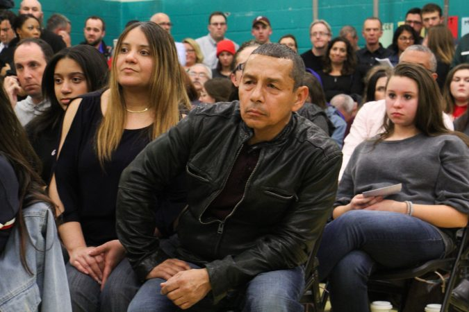 More than 200 concerned parents and students crowd a Cherry Hill school board meeting to talk security in the wake of the Parkland, Florida, shooting. (Emma Lee/WHYY)
