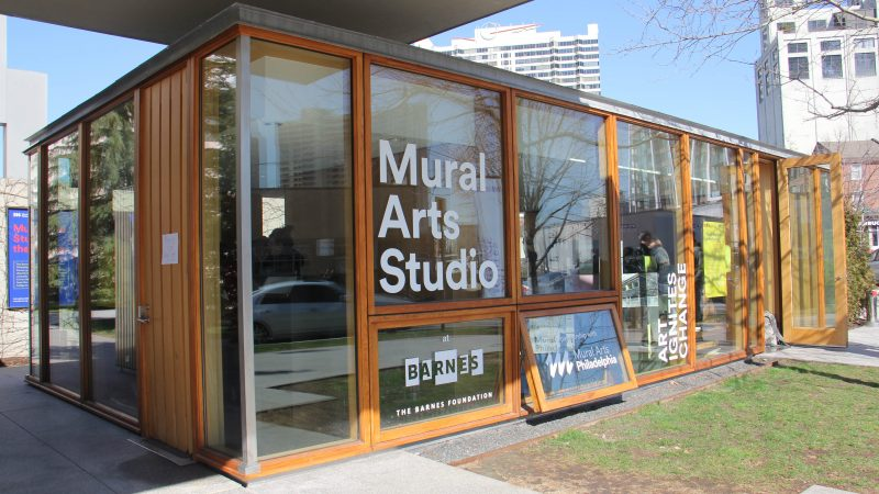 The Mural Arts Studio at the Barnes was originally a ticket booth Classes for Mural Arts' Restorative Justice Program will take place here and at Graterford prison. (Emma Lee/WHYY)
