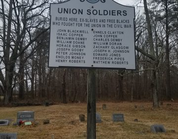Unionville historical marker displays names of 18 Black Civil War veterans who founded the town. (Andrea Gibbs/WHYY)