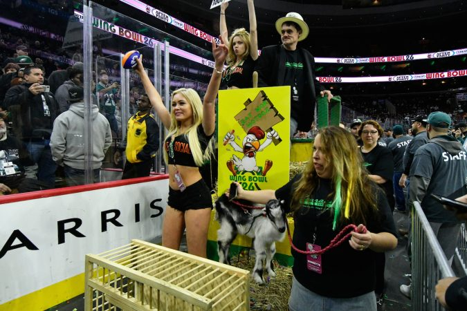 A goat and live chicken are part of a float caring a contestant during the annual Wing Bowl competition, at the Wells Fargo Center, on Friday. (Bastiaan Slabbers for WHYY)