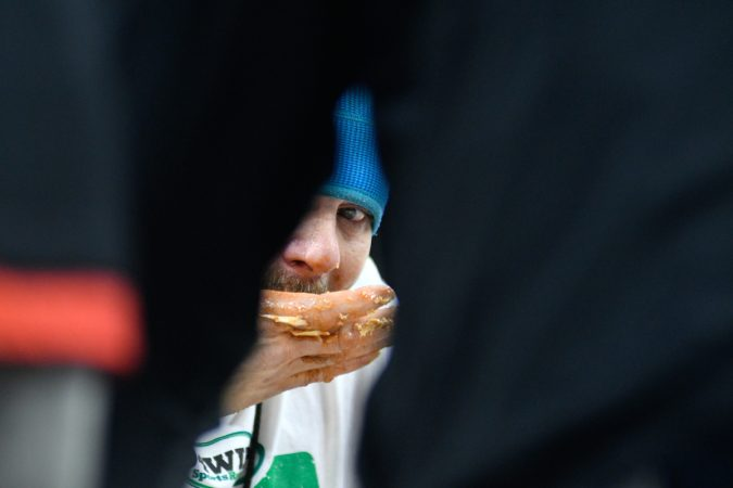 Two days ahead of Super Bowl LII, competitive eaters consume large amounts of wings during the annual Wing Bowl competition, at the Wells Fargo Center, on Friday. (Bastiaan Slabbers for WHYY)
