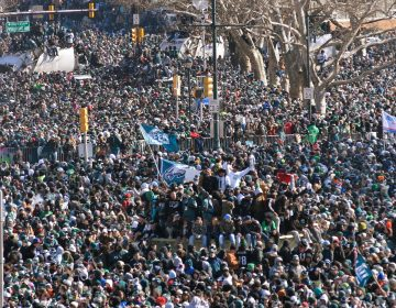 Hundreds of thousands fill the Parkway in Philadelphia, PA, on February 8, 2018, to celebrate the Philadelphia Eagles winning Super Bowl LII. The Eagles beat the New England Patriots by 41-33. (Bastiaan Slabbers for WHYY)