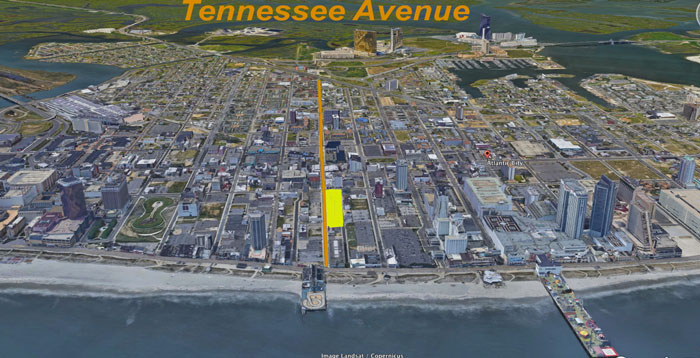 A Google Earth view of Tennessee Avenue looking west. The area highlighted in bright yellow is the block where local investors plan to open several businesses.