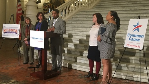 Representatives from Common Cause Pennsylvania largely praised the new map, but noted they have concerns about how it will impact black voters' representation. (Katie Meyer/WITF)