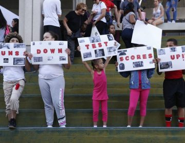 "A group holds signs reading, ""Guns Down Test Scores Up"" during a protest in Fort Lauderdale, Florida. (AP Photo/Brynn Anderson)"