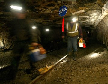 FILE - In this March 10, 2006 file photo, Ohio coal miners head into the mine for a shift inside the Hopedale Mine near Cadiz, Ohio.