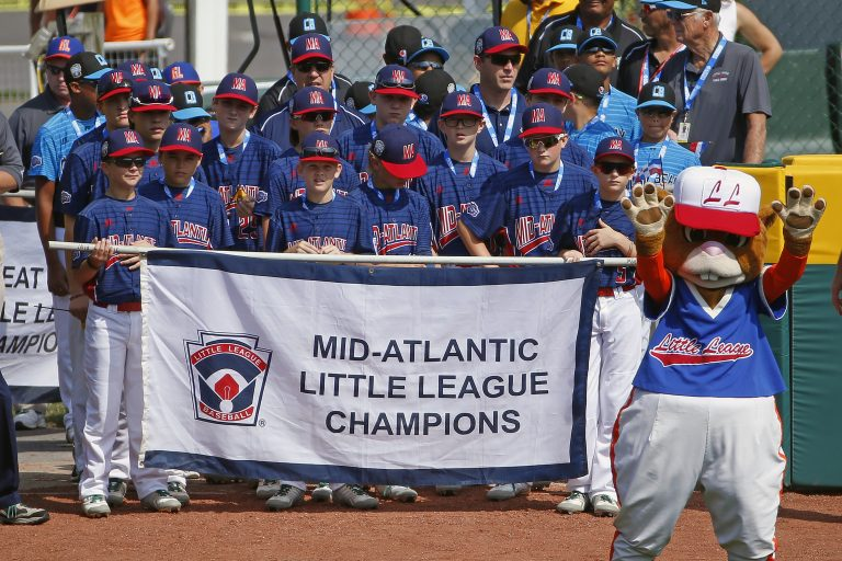 The Mid-Atlantic region team from Jackson, N.J., participates in the opening ceremony of the 2017 Little League World Series tournament in South Williamsport, Pa., Thursday, Aug. 17, 2017. (AP Photo/Gene J. Puskar)