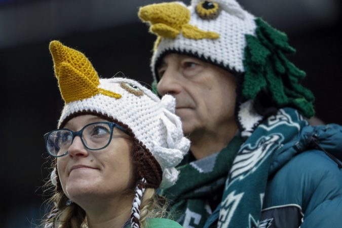 Philadelphia Eagles fans wait before the NFL Super Bowl 52 football game between the Eagles and the New England Patriots Sunday, Feb. 4, 2018, in Minneapolis.